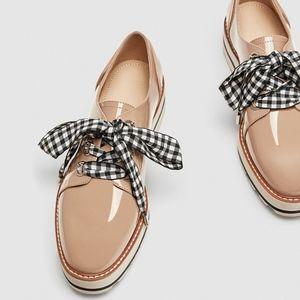 ZARA FAUX PATENT LEATHER DERBY SHOES BOW DETAIL